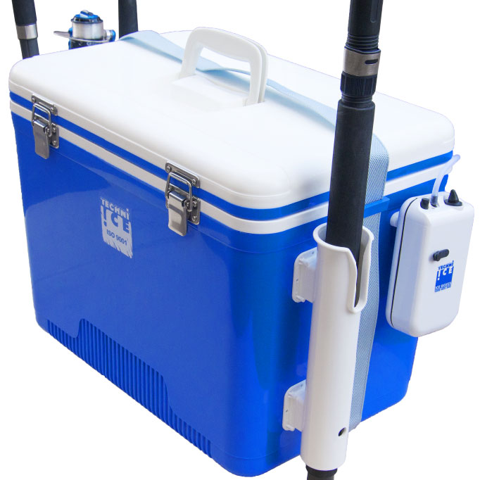 Bait Box 28L White-Blue + Fishing Rod Holders + Aircompressor
