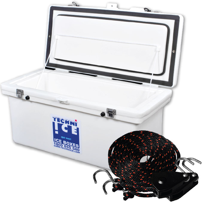 Special - Techniice Classic Icebox 70L Long+ Pair of Economy Model Rope Ratchet + 6 FREE Dry Ice Packs