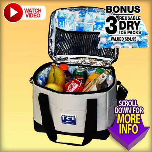 Techni Ice High Performance Cooler Bag 13L + BONUS 3 Reusable Ice Packs FREE (CB13)