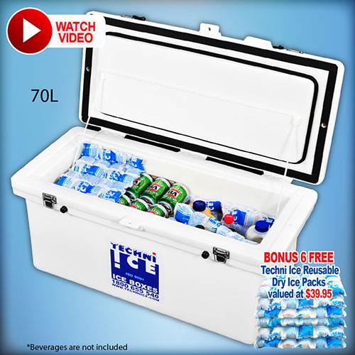 Techniice Classic Icebox 70L Long - Includes 6 FREE Dry Ice Packs Valued $40 (CL70)