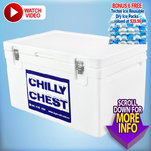 Chilly Chest Icebox 75L - Includes 6 FREE Dry Ice Packs Valued $40