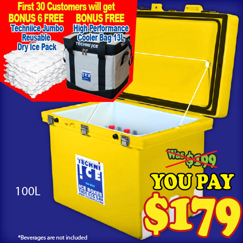 Techniice Classic Icebox 100L - Includes 6 FREE Dry Ice Packs Valued $40 (CL100)
