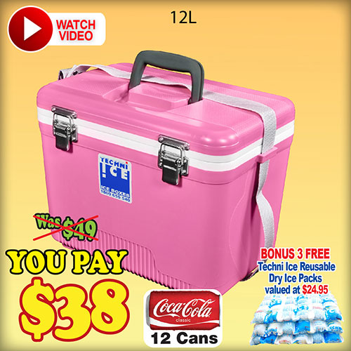 Techniice Compact Icebox 12L + BONUS 3 Ice Packs Valued $25 FREE (COM12)