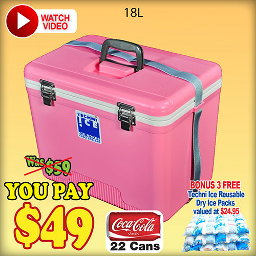 Techniice Compact Icebox 18L + BONUS 3 Ice Packs Valued $25 FREE (COM18)