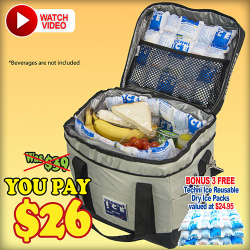 Techni Ice High Performance Cooler Bag 23L + BONUS 3 Reusable Ice Packs FREE (CB23)