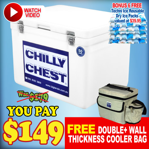 Chilly Chest Icebox 50L - Includes 6 FREE Dry Ice Packs Valued $40